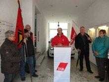 """Der OV Hof beteiligte sich  am 2.5.17 an der """"Gedenkstunde der Besetzung der Gewerkschaftshäuser"""" in der Marienstraße 75 in Hof."""